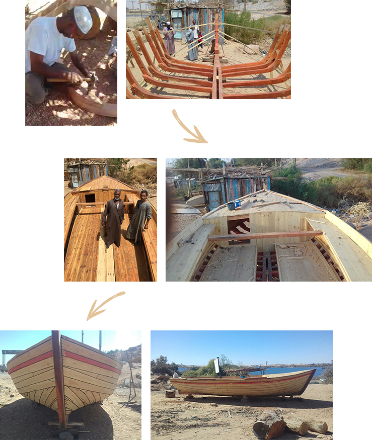 Der Bau einer Holz-Feluke.
